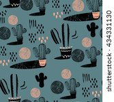 seamless pattern with cactus....   Shutterstock .eps vector #434331130