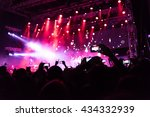 rock concert  silhouettes of...   Shutterstock . vector #434332939