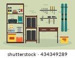 flat garage inside. working...   Shutterstock .eps vector #434349289