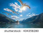 cruise ship departure from flam ... | Shutterstock . vector #434358280