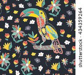 seamless pattern with bird and... | Shutterstock . vector #434359264