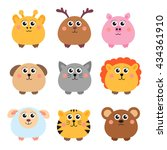 set of cute animals rounded...   Shutterstock .eps vector #434361910