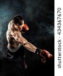 muscular kickbox or muay thai...   Shutterstock . vector #434367670