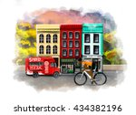 racing cyclist on the... | Shutterstock . vector #434382196
