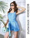 sexy beauty woman in blue silk... | Shutterstock . vector #434382238