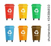 waste sorting garbage bin set... | Shutterstock .eps vector #434386810