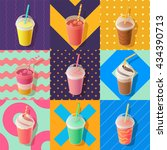 milkshake or smoothie take away ... | Shutterstock .eps vector #434390713
