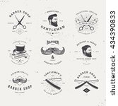barber shop old fashioned logo... | Shutterstock .eps vector #434390833
