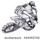 black and white ink hand drawn... | Shutterstock . vector #434393743