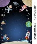 astronaut cartoon characters on ... | Shutterstock .eps vector #434408584