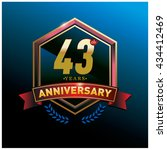 43th anniversary logo with gold ... | Shutterstock .eps vector #434412469