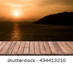 clear table on beautiful sunset ...   Shutterstock . vector #434413210