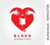 logotype blood donation  help... | Shutterstock .eps vector #434413708