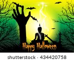 happy halloween background with ... | Shutterstock .eps vector #434420758