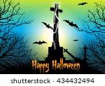 spooky graveyard scene with... | Shutterstock .eps vector #434432494