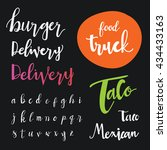 hand drawn calligraphic font.... | Shutterstock .eps vector #434433163
