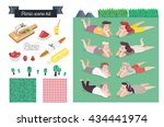 picnic scene kit   a collection ... | Shutterstock .eps vector #434441974
