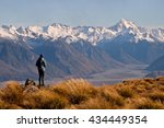 a female hiker looks towards... | Shutterstock . vector #434449354