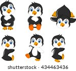 baby penguins cartoon set...