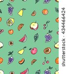 seamless pattern of fruit  pear ... | Shutterstock . vector #434466424