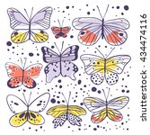 set of butterfly. hand drawn... | Shutterstock .eps vector #434474116