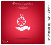 flat hand giving the clock icon    Shutterstock .eps vector #434485444