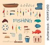 fishing tools illustration.... | Shutterstock .eps vector #434491450