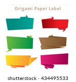 a set of origami pop up bubbles ... | Shutterstock .eps vector #434495533