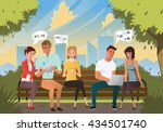 group of young people sitting... | Shutterstock .eps vector #434501740