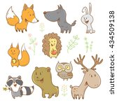cute cartoon forest animals set.... | Shutterstock .eps vector #434509138