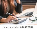 close up of female accountant... | Shutterstock . vector #434519134