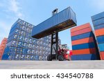 forklift truck lifting cargo... | Shutterstock . vector #434540788