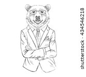 brown bear dressed up in office ... | Shutterstock .eps vector #434546218