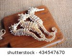Dried Seahorse On Wooden...