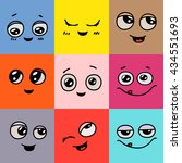 emotions. set of doodle faces.... | Shutterstock .eps vector #434551693