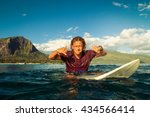 surfer with long white hair... | Shutterstock . vector #434566414