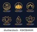 Gold Line Lotus Logo Vector Ar...