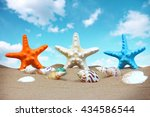 summer background with starfish ... | Shutterstock . vector #434586544