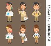 businessman and businesswoman... | Shutterstock .eps vector #434594473