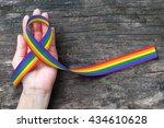 rainbow ribbon awareness for...   Shutterstock . vector #434610628