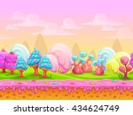 cartoon fantasy candy land... | Shutterstock .eps vector #434624749