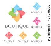 beautiful flower set decoration ... | Shutterstock .eps vector #434638990