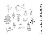 leaves doodle set | Shutterstock .eps vector #434648029
