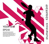 tennis player silhouette... | Shutterstock .eps vector #434649349