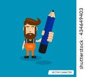 bearded man hold pencil   Shutterstock .eps vector #434649403
