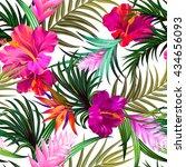 amazing vector tropical flowers ... | Shutterstock .eps vector #434656093