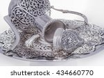 silver jug with plate on a... | Shutterstock . vector #434660770