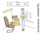a nurse in the ward. hospital. | Shutterstock .eps vector #434685796