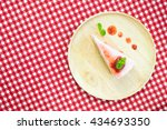 a piece of cake with strawberry ... | Shutterstock . vector #434693350