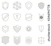 shield icons set  outline style | Shutterstock .eps vector #434694778